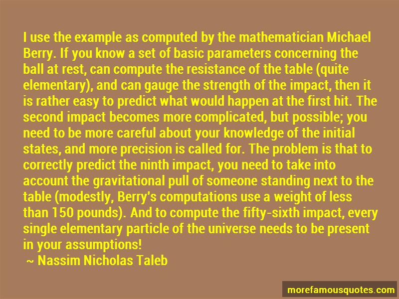 Nassim Nicholas Taleb Quotes: I use the example as computed by the