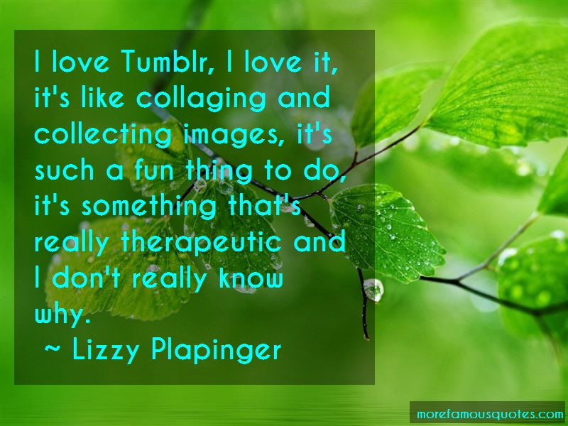 Lizzy Plapinger Quotes: I love tumblr i love it its like