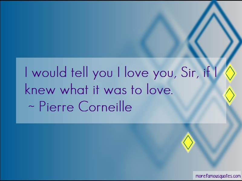 Pierre Corneille Quotes: I would tell you i love you sir if i