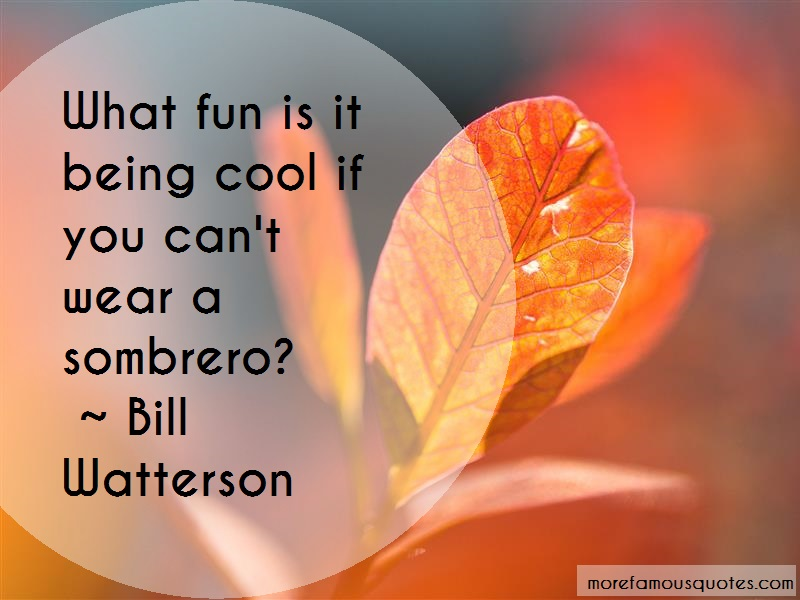 Bill Watterson Quotes: What fun is it being cool if you cant