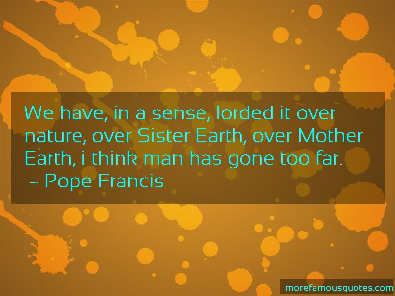 Pope Francis Quotes: We Have In A Sense Lorded It Over Nature