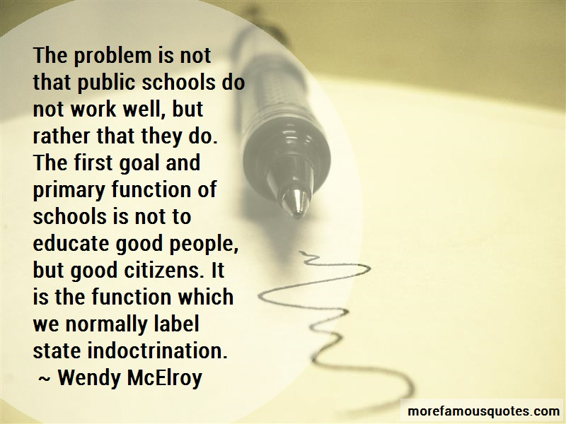 Wendy McElroy Quotes: The problem is not that public schools
