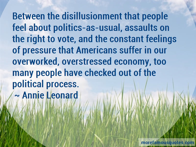 Annie Leonard Quotes: Between The Disillusionment That People