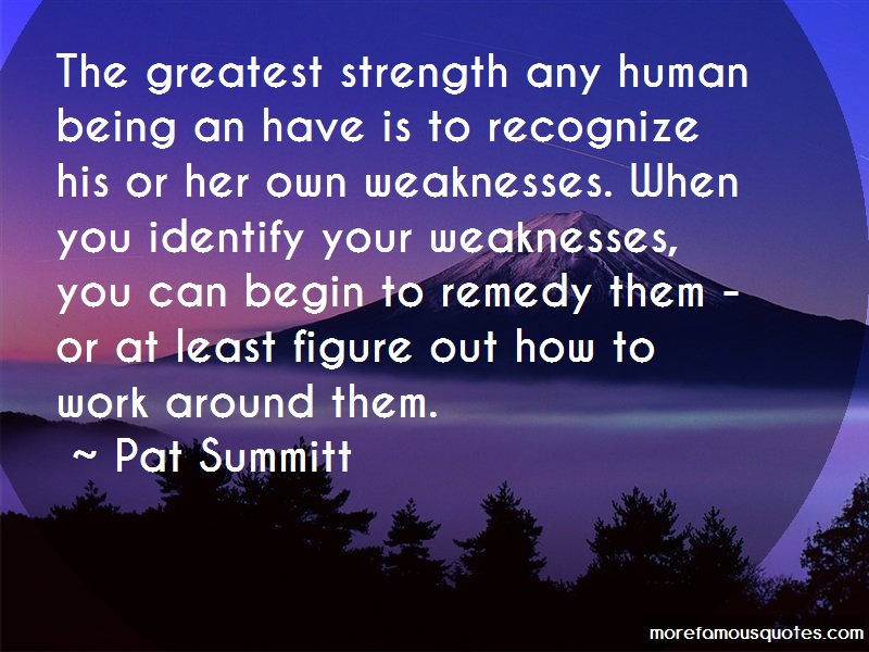 Pat Summitt Quotes: The greatest strength any human being an