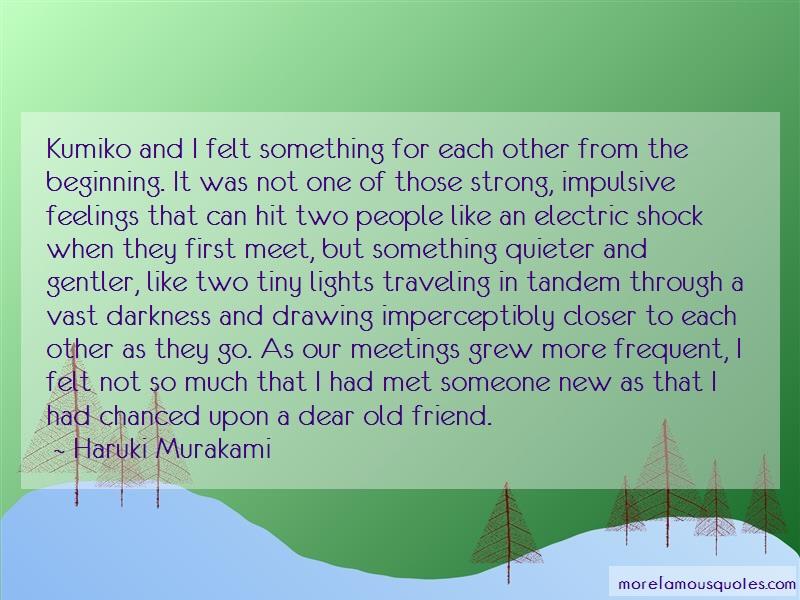 Haruki Murakami Quotes: Kumiko and i felt something for each