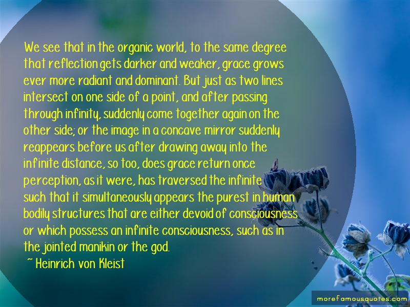 Heinrich Von Kleist Quotes: We see that in the organic world to the