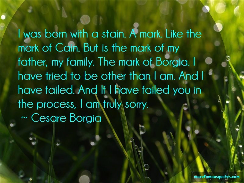 Cesare Borgia Quotes: I was born with a stain a mark like the