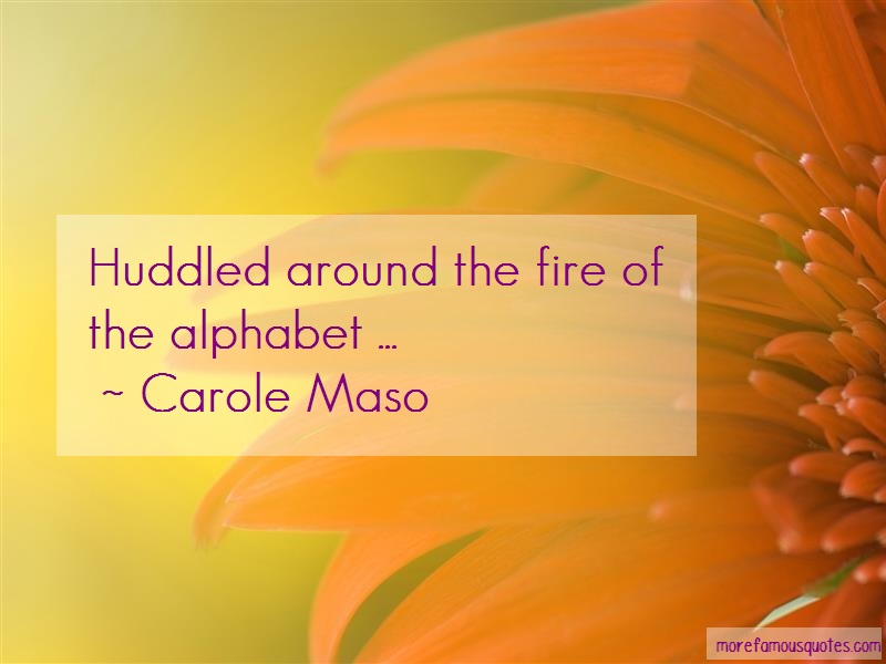 Carole Maso Quotes: Huddled around the fire of the alphabet