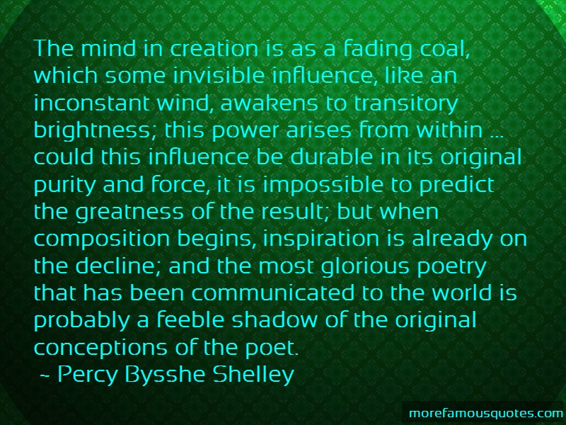 Percy Bysshe Shelley Quotes: The Mind In Creation Is As A Fading Coal