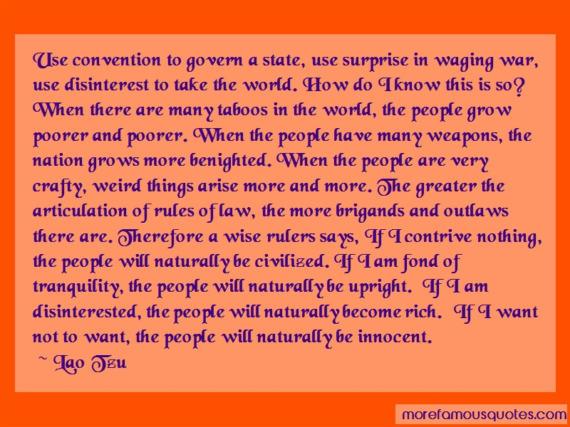 Lao Tzu Quotes: Use Convention To Govern A State Use
