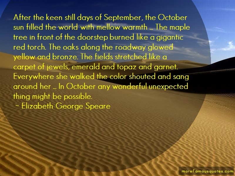 Elizabeth George Speare Quotes: After the keen still days of september