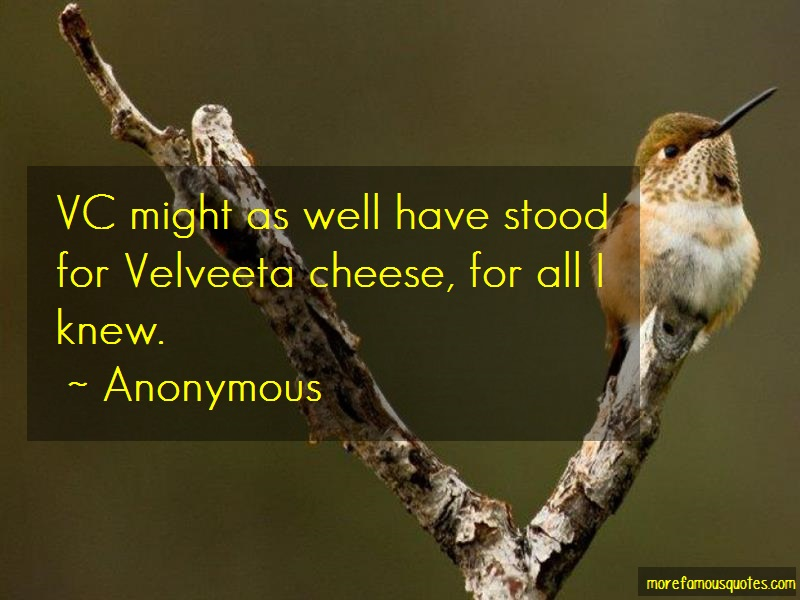 Anonymous. Quotes: Vc Might As Well Have Stood For Velveeta