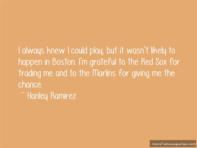 Hanley Ramirez Quotes: I always knew i could play but it wasnt