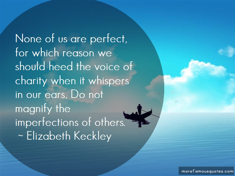 Elizabeth Keckley Quotes: None Of Us Are Perfect For Which Reason