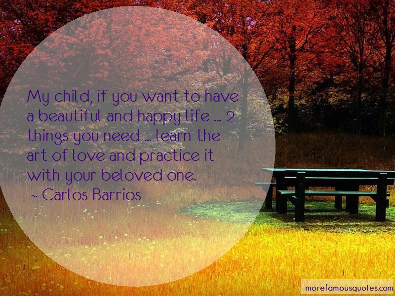 Carlos Barrios Quotes: My child if you want to have a beautiful