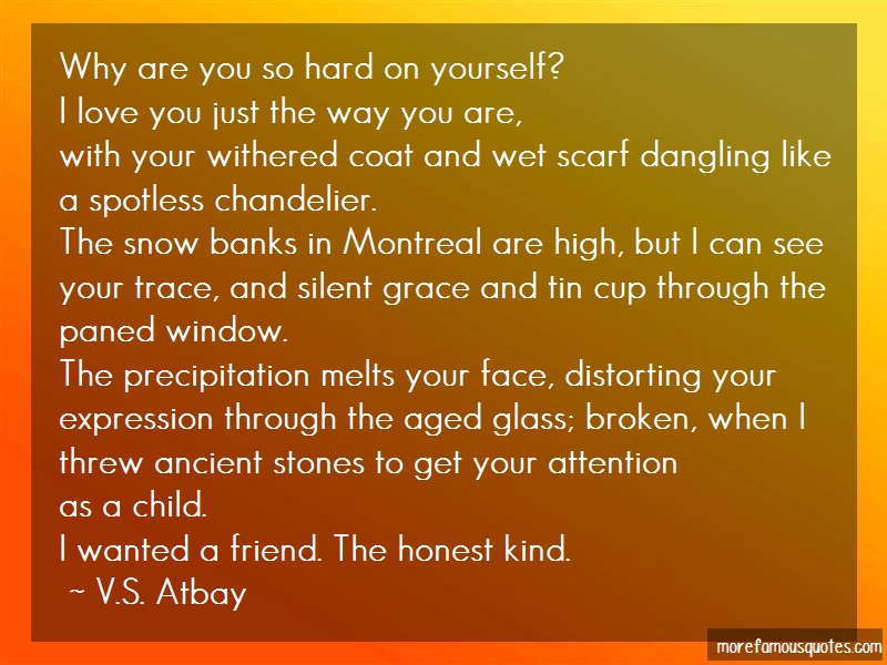 V.S. Atbay Quotes: Why Are You So Hard On Yourself I Love