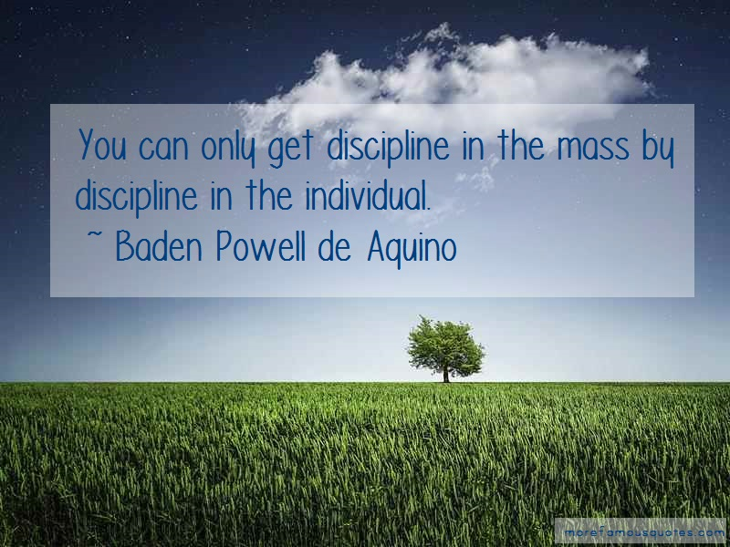 Baden Powell De Aquino Quotes: You can only get discipline in the mass