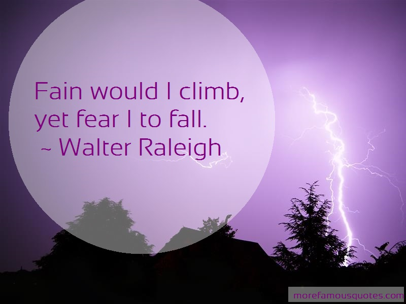 Walter Raleigh Quotes: Fain would i climb yet fear i to fall