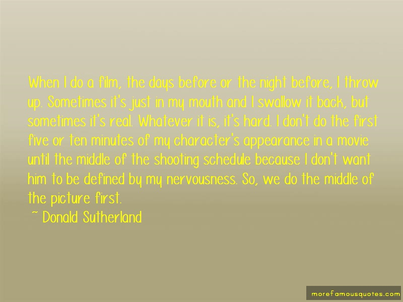 Donald Sutherland Quotes: When i do a film the days before or the