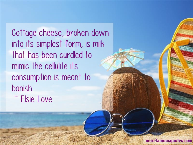 Elsie Love Quotes: Cottage Cheese Broken Down Into Its