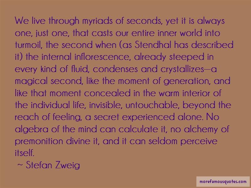 Stefan Zweig Quotes: We live through myriads of seconds yet