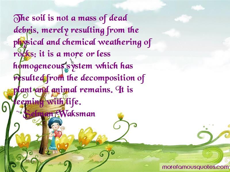 Selman Waksman Quotes: The soil is not a mass of dead debris