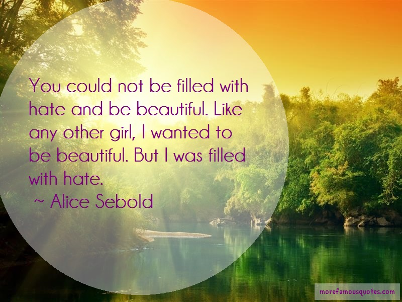 Alice Sebold Quotes: You could not be filled with hate and be