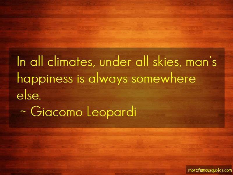 Giacomo Leopardi Quotes: In all climates under all skies mans