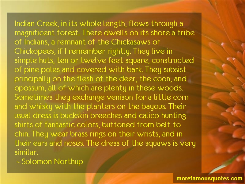 Solomon Northup Quotes: Indian creek in its whole length flows