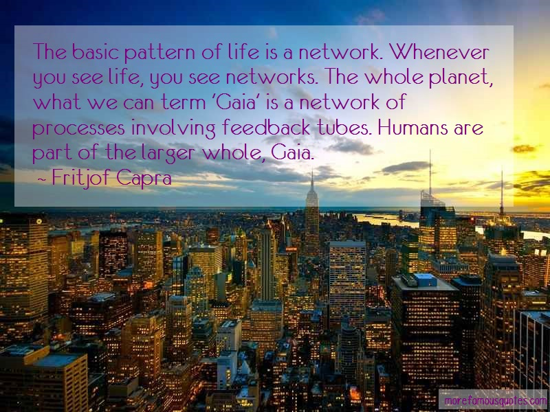 Fritjof Capra Quotes: The Basic Pattern Of Life Is A Network