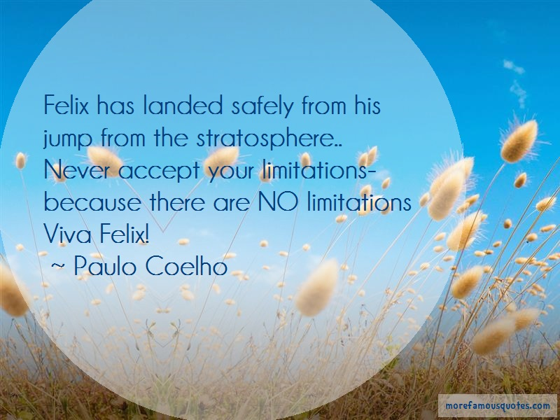 Paulo Coelho Quotes: Felix has landed safely from his jump