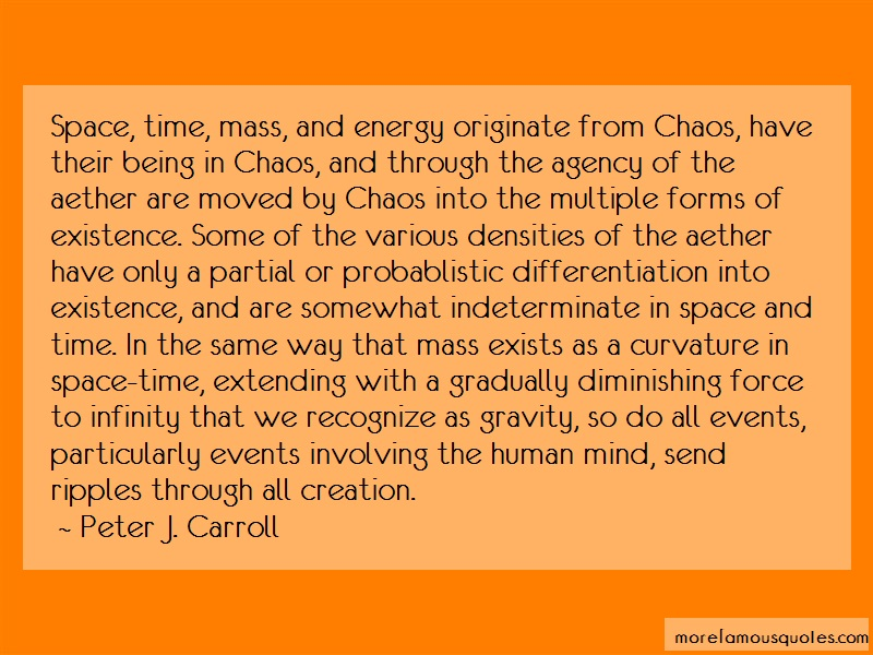 Peter J. Carroll Quotes: Space Time Mass And Energy Originate