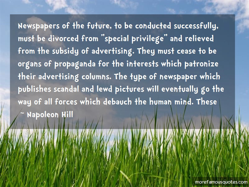 Napoleon Hill Quotes: Newspapers of the future to be conducted