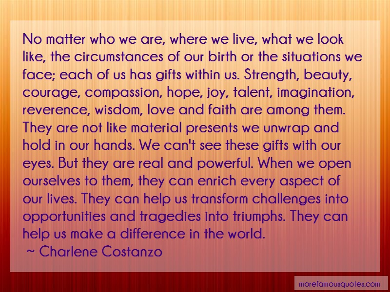 Charlene Costanzo Quotes: No matter who we are where we live what