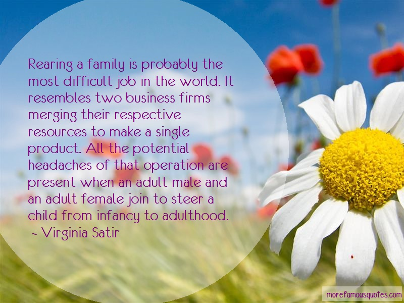 Virginia Satir Quotes: Rearing a family is probably the most