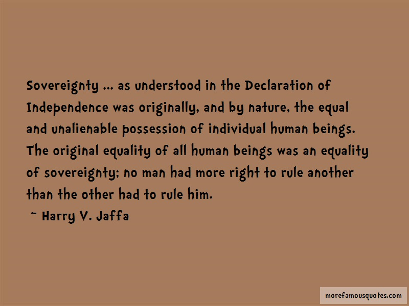 Harry V. Jaffa Quotes: Sovereignty As Understood In The