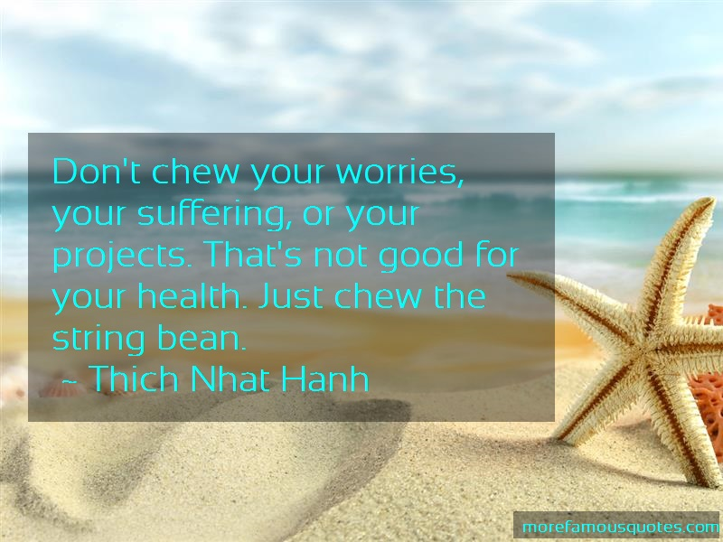 Thich Nhat Hanh Quotes: Dont Chew Your Worries Your Suffering Or