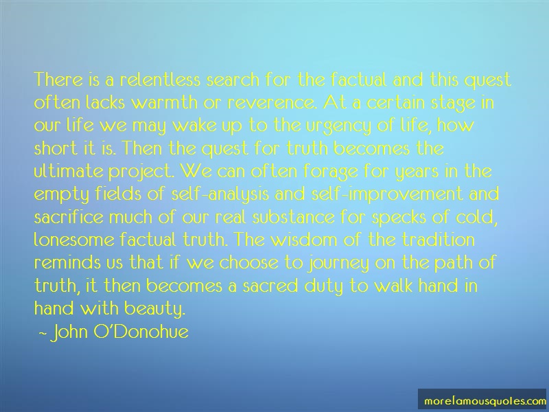 John O'Donohue Quotes: There is a relentless search for the