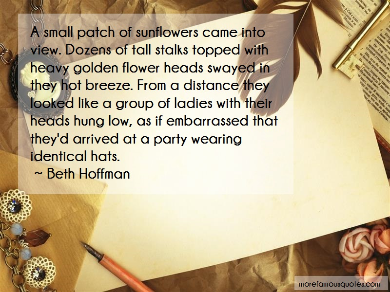 Beth Hoffman Quotes: A Small Patch Of Sunflowers Came Into