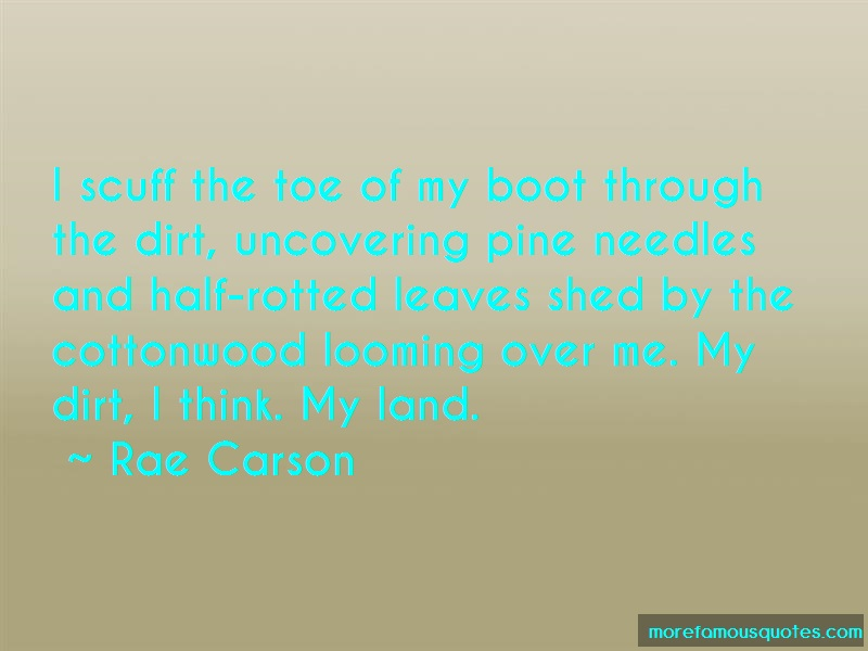 Rae Carson Quotes: I Scuff The Toe Of My Boot Through The