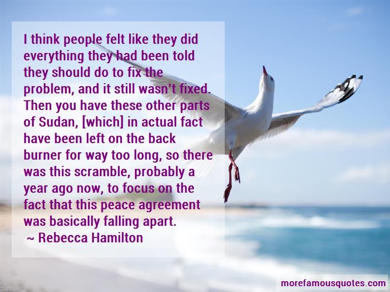 Rebecca Hamilton Quotes: I Think People Felt Like They Did