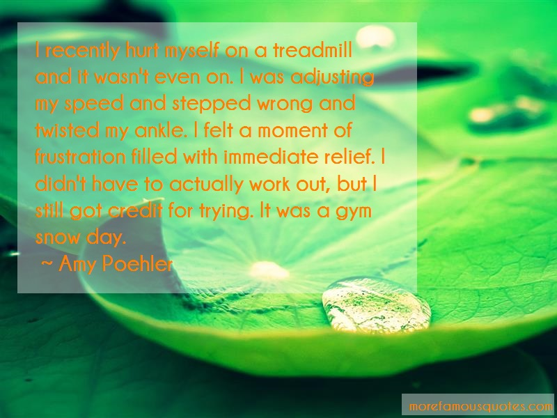 Amy Poehler Quotes: I recently hurt myself on a treadmill