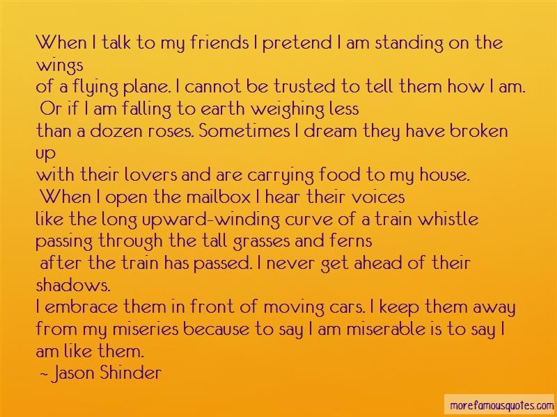 Jason Shinder Quotes: When i talk to my friends i pretend i am