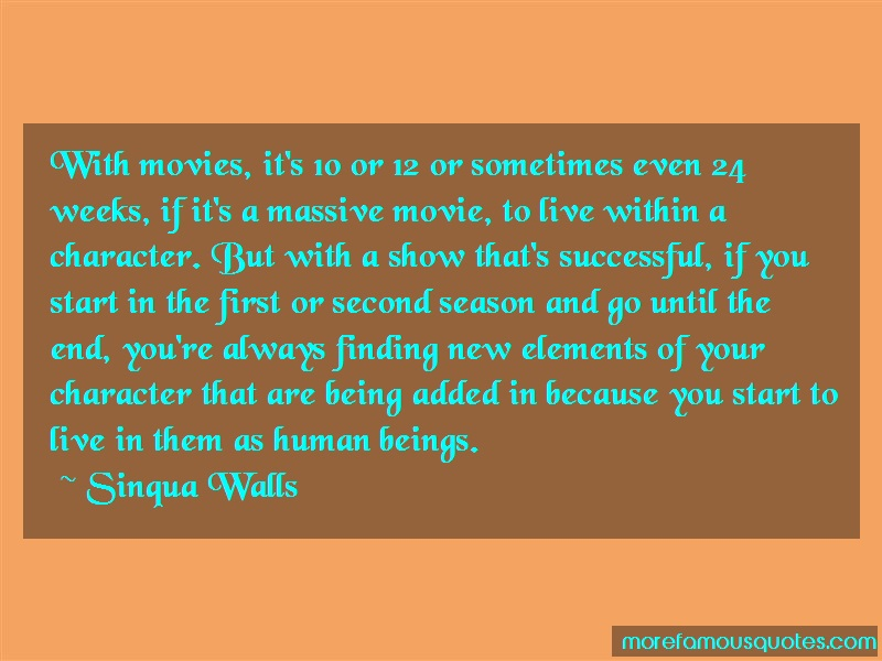Sinqua Walls Quotes: With Movies Its 10 Or 12 Or Sometimes