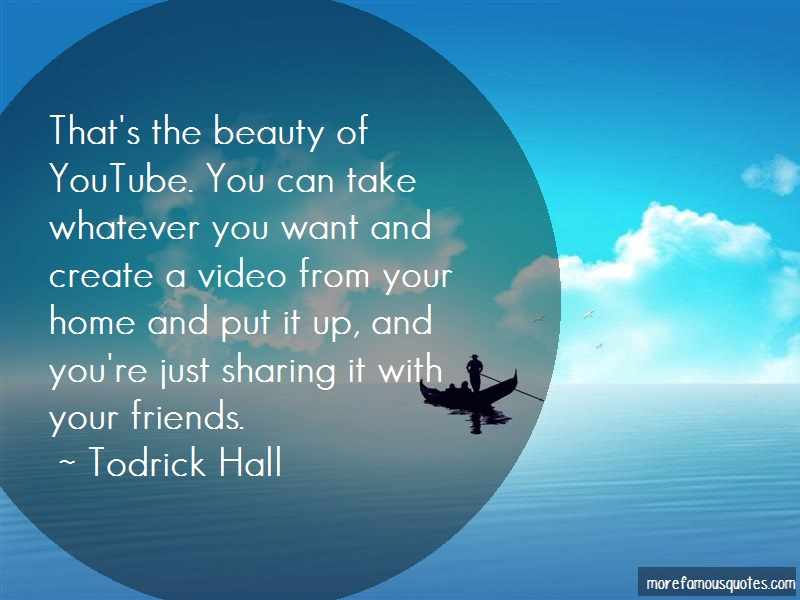 Todrick Hall Quotes: Thats the beauty of youtube you can take