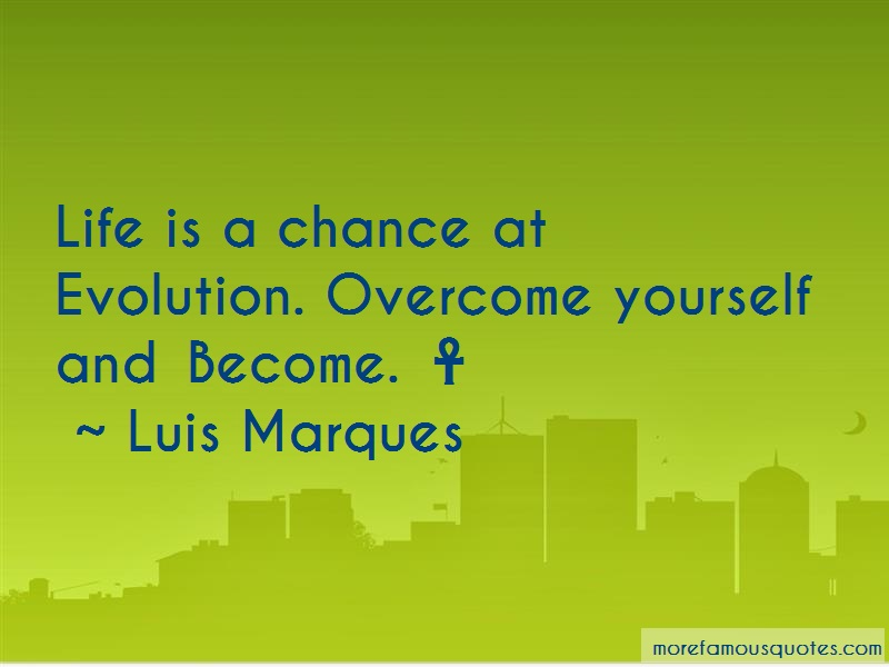 Luis Marques Quotes: Life Is A Chance At Evolution Overcome