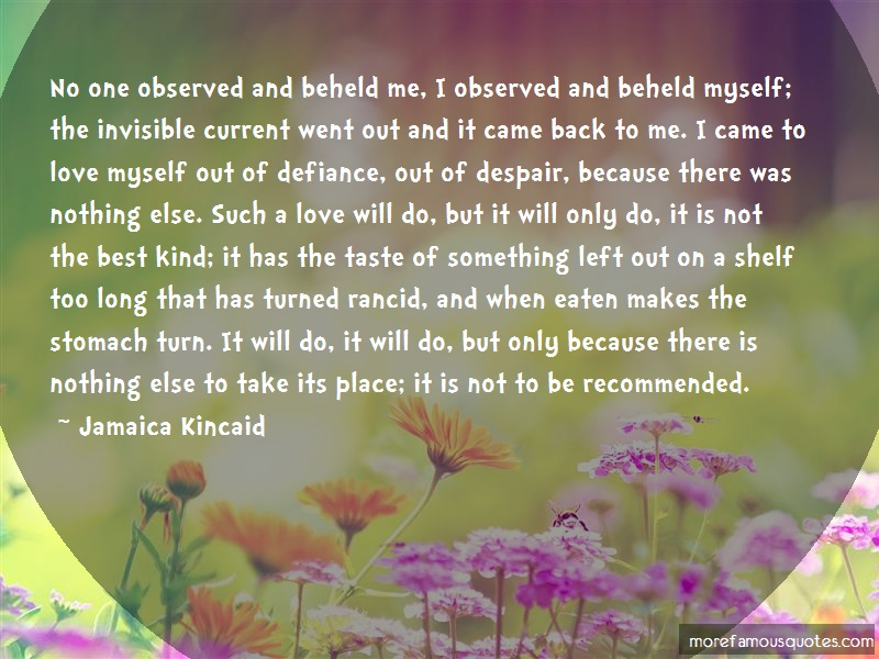 Jamaica Kincaid Quotes: No one observed and beheld me i observed