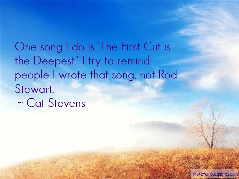 Cat Stevens Quotes: One Song I Do Is The First Cut Is The