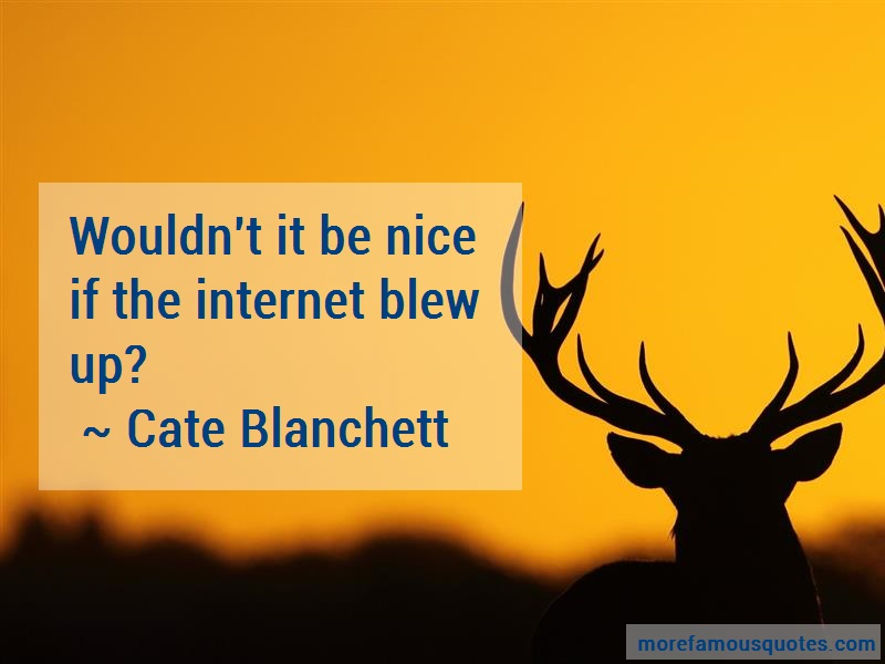 Cate Blanchett Quotes: Wouldnt It Be Nice If The Internet Blew