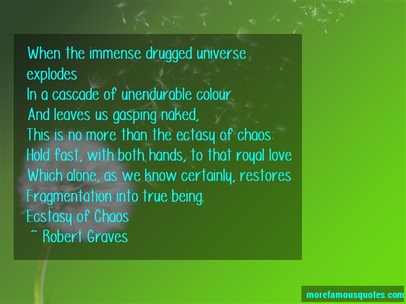 Robert Graves Quotes: When The Immense Drugged Universe